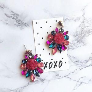 Trendy multi color stud statement earrings